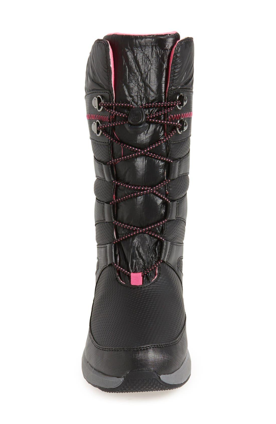 'Arctic Blast' Waterproof Snow Boot,                             Alternate thumbnail 3, color,                             Black/ Pink
