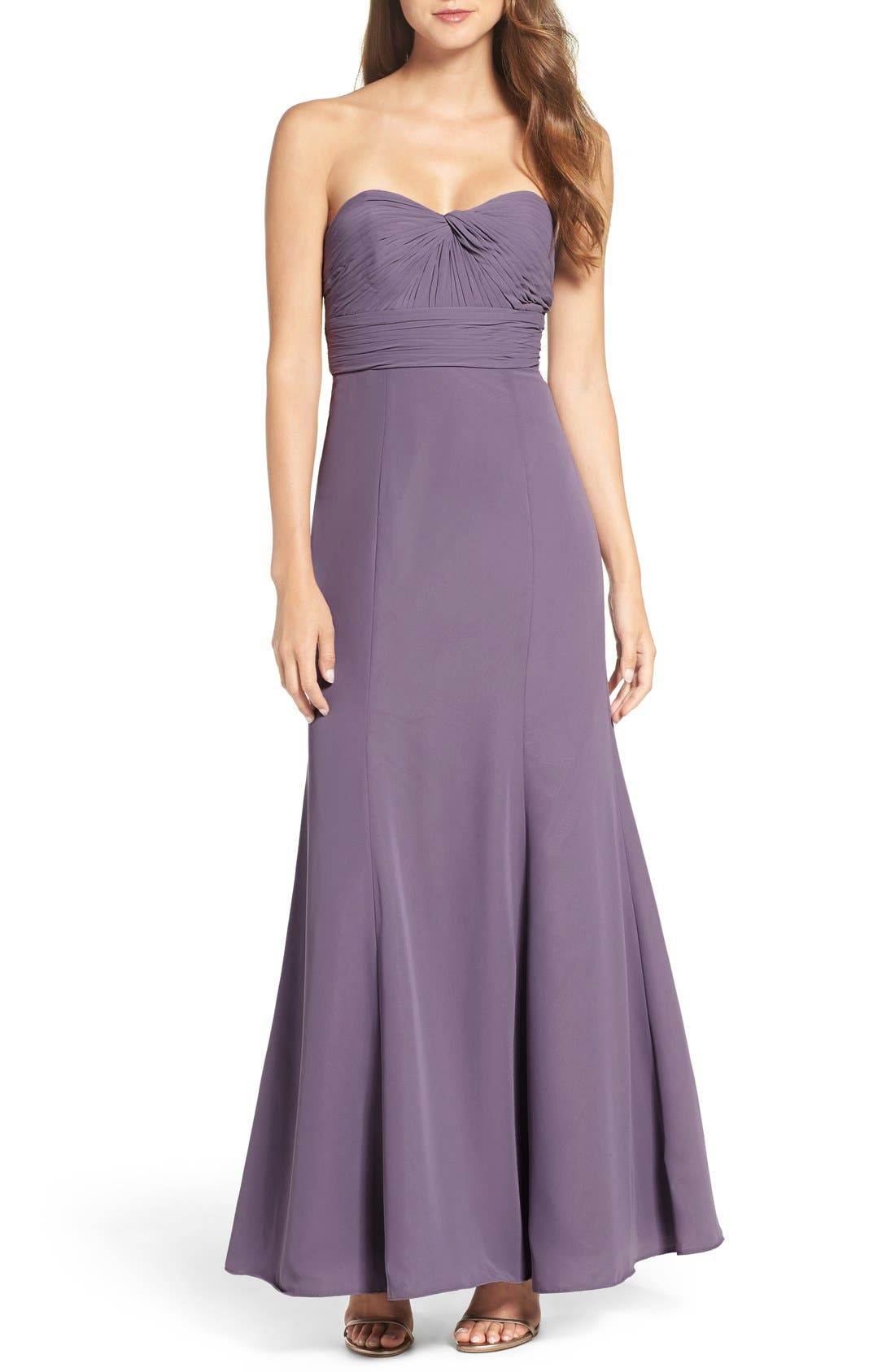 Alternate Image 1 Selected - WTOO Strapless Chiffon Gown