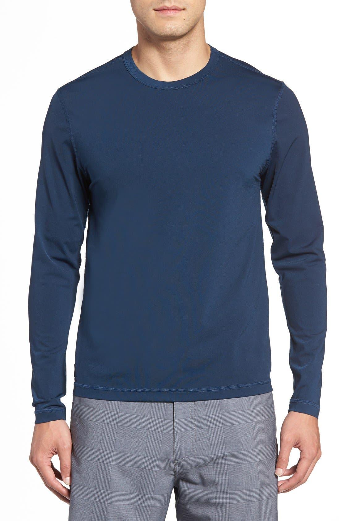 Long Sleeve Stretch Rashguard,                         Main,                         color, Deep Blue
