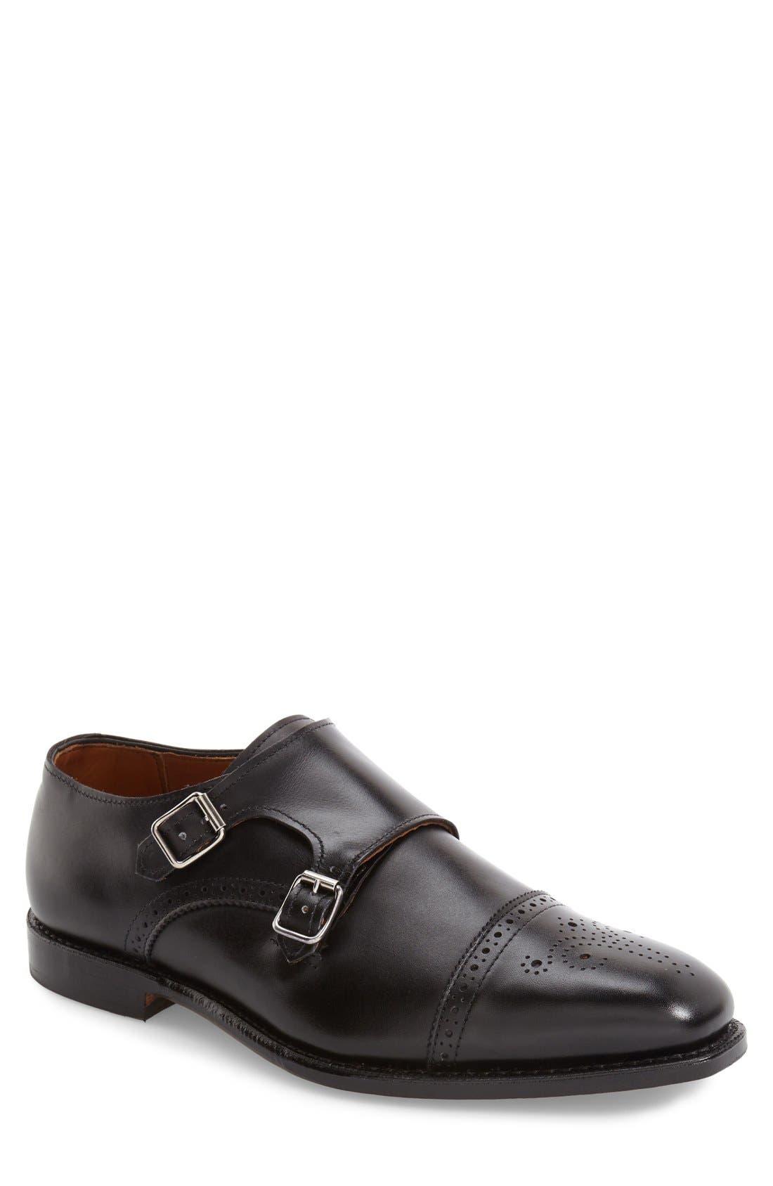 'St. Johns' Double Monk Strap Shoe,                             Main thumbnail 1, color,                             Black Leather