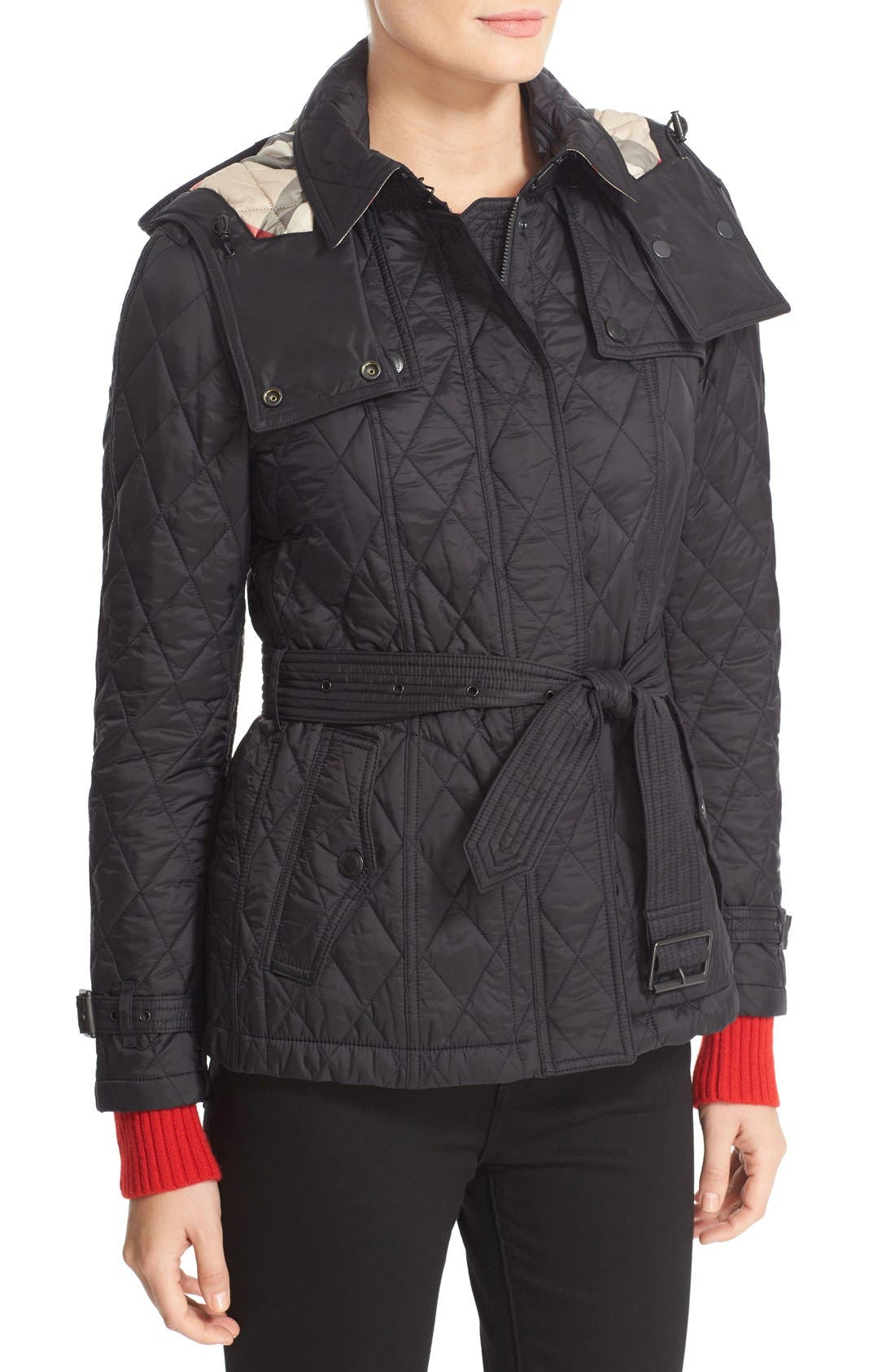 Finsbridge Short Quilted Jacket,                             Alternate thumbnail 6, color,                             Black