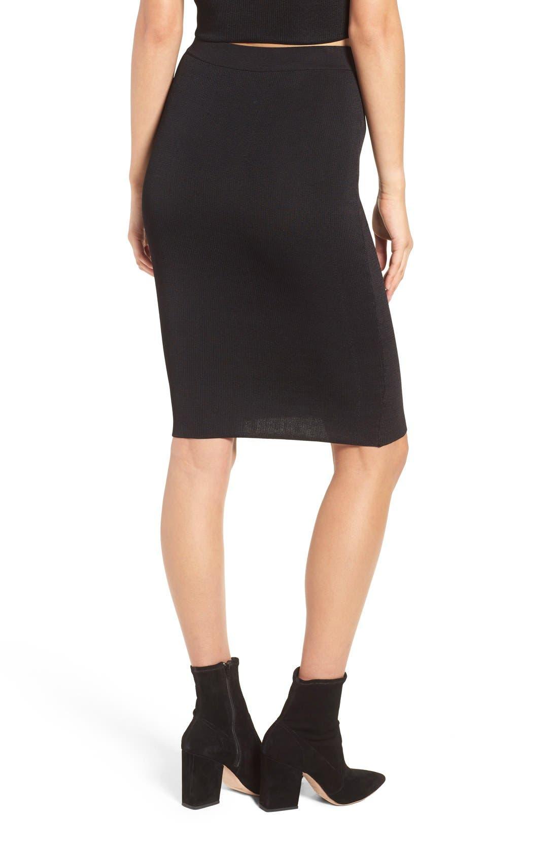 Ribbed Skirt,                             Alternate thumbnail 3, color,                             Black