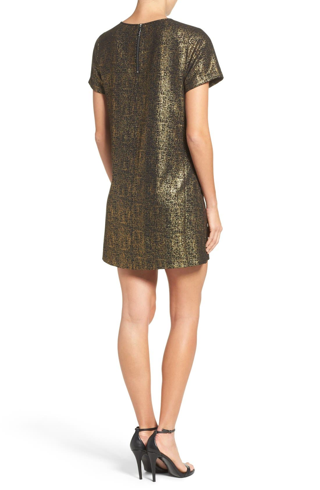 Amy Metallic Shift Dress,                             Alternate thumbnail 2, color,                             Black/ Gold