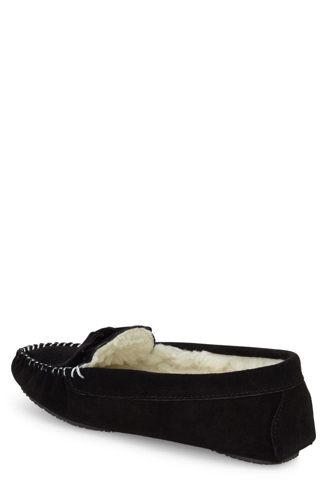 'Haley' Slipper,                             Alternate thumbnail 2, color,                             Black Suede