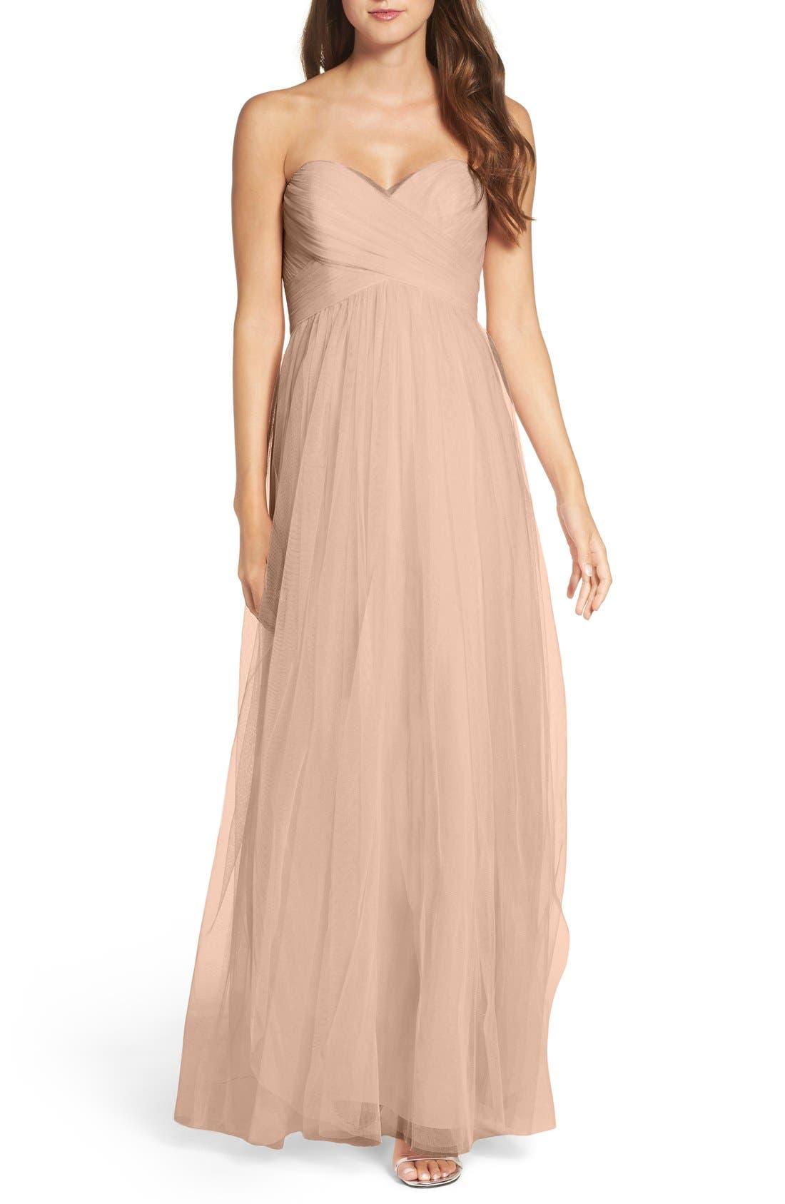 Convertible Strap Tulle Gown,                             Main thumbnail 1, color,                             Latte
