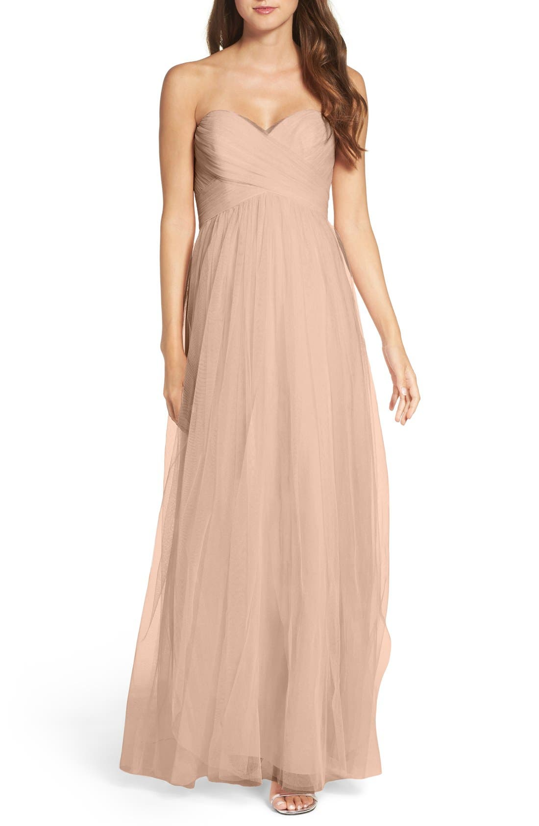 Convertible Strap Tulle Gown,                         Main,                         color, Latte