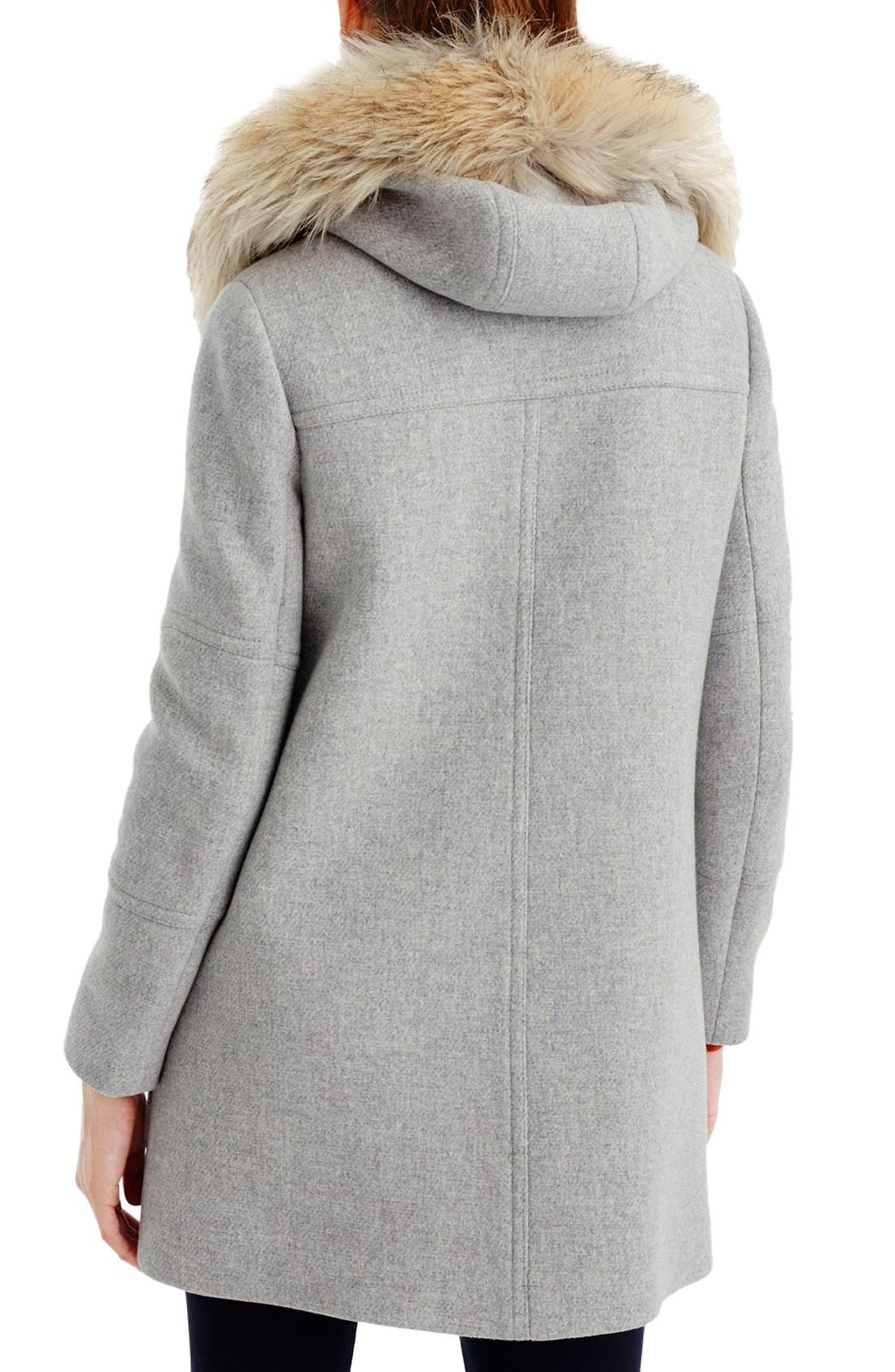 Alternate Image 2  - J.Crew Chateau Stadium Cloth Parka with Faux Fur (Regular & Petite)