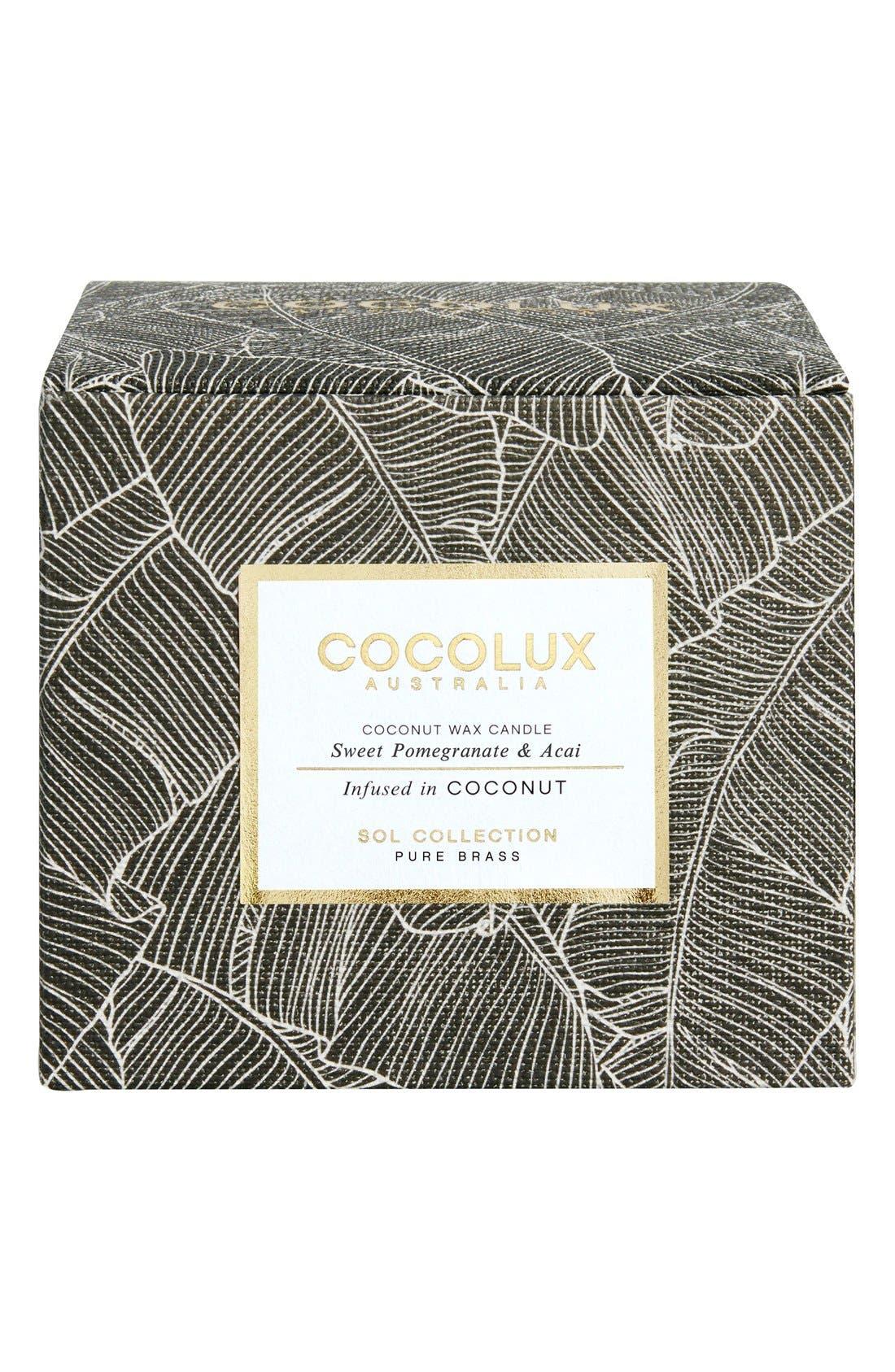 Alternate Image 2  - Cocolux Australia Sweet Pomegranate & Acai Brass Candle