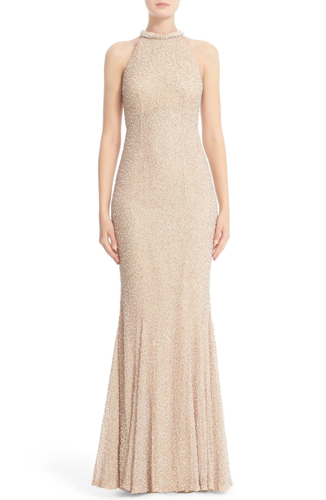 Hand Embellished Halter Mermaid Gown,                         Main,                         color, Champagne