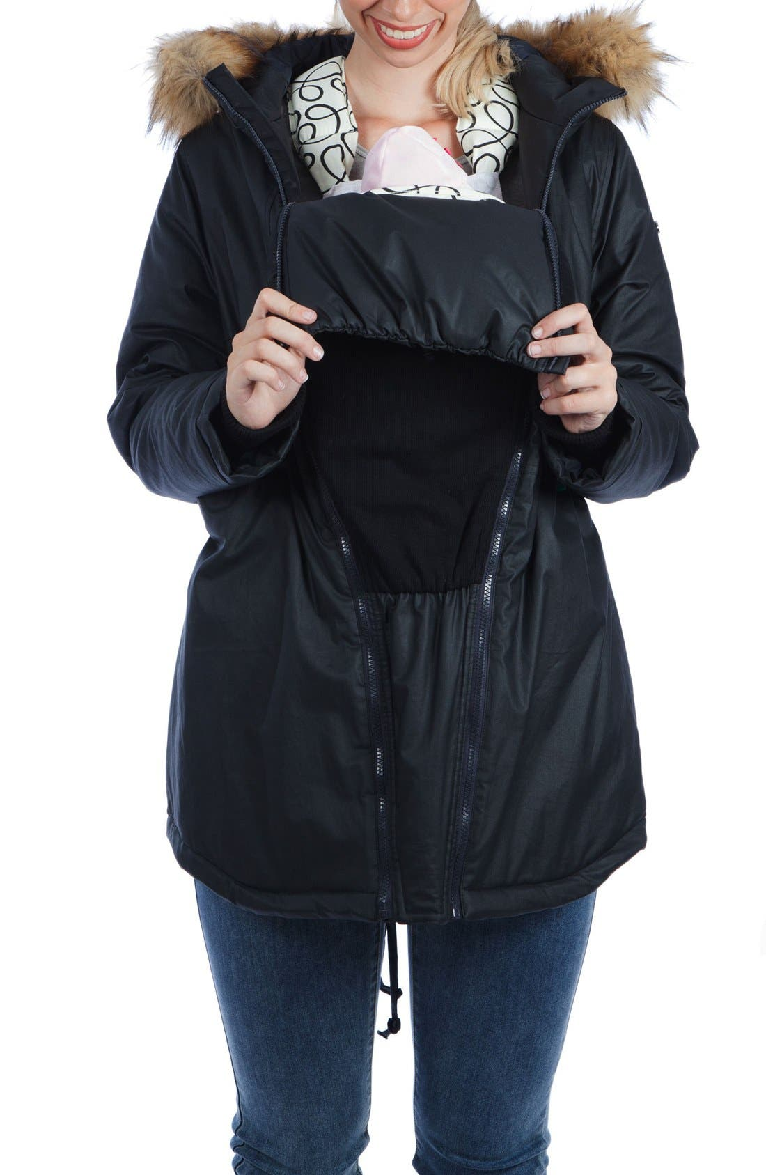 Sofia Waxed 3-in-1 Maternity/Nursing Jacket with Faux Fur Trim,                             Alternate thumbnail 4, color,                             Black