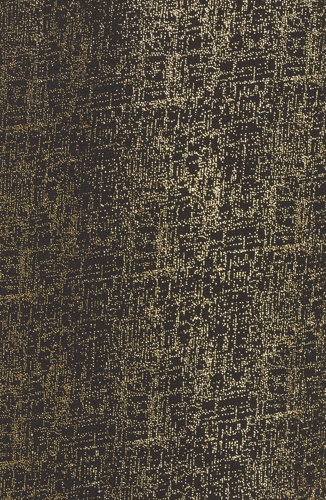 Amy Metallic Shift Dress,                             Alternate thumbnail 6, color,                             Black/ Gold