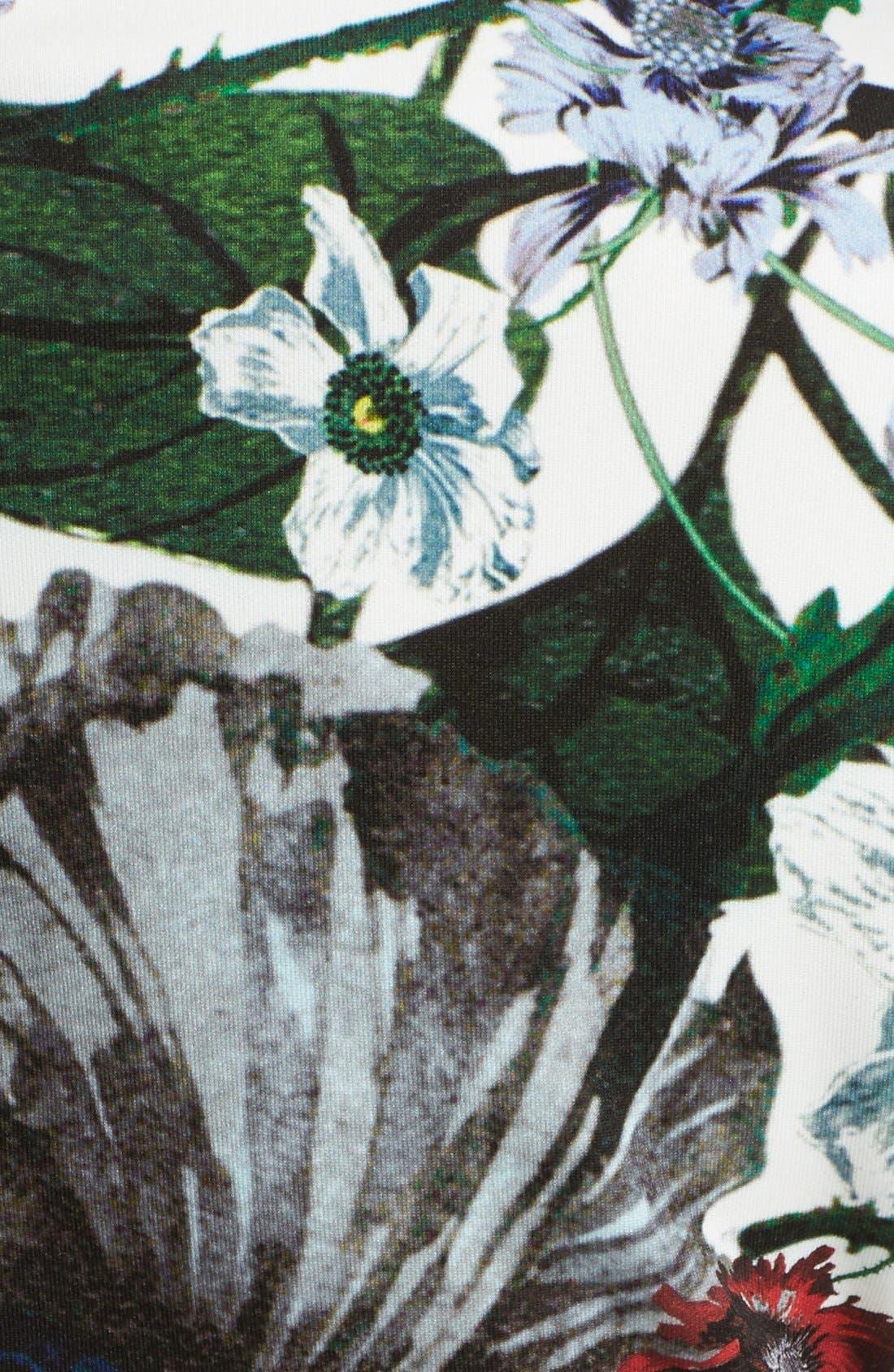 Darlna Floral Print Neoprene Flutter Hem Dress,                             Alternate thumbnail 3, color,                             White/ Red
