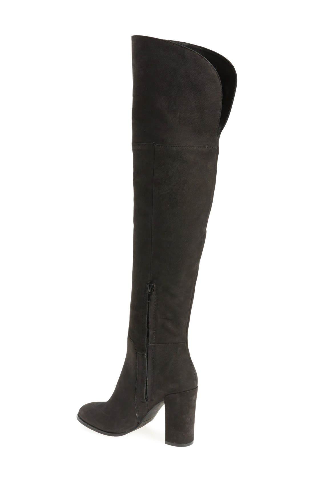 Over the Knee Jack Boot,                             Alternate thumbnail 2, color,                             Black Nubuck Leather