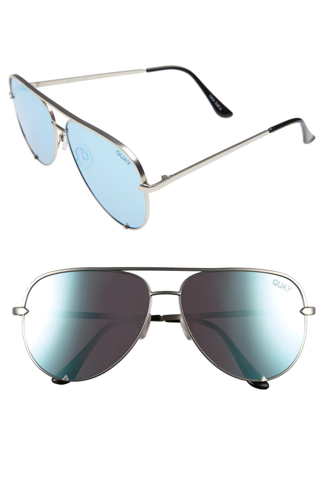 x Desi Perkins High Key 62mm Aviator Sunglasses,                             Main thumbnail 1, color,                             Silver/ Blue