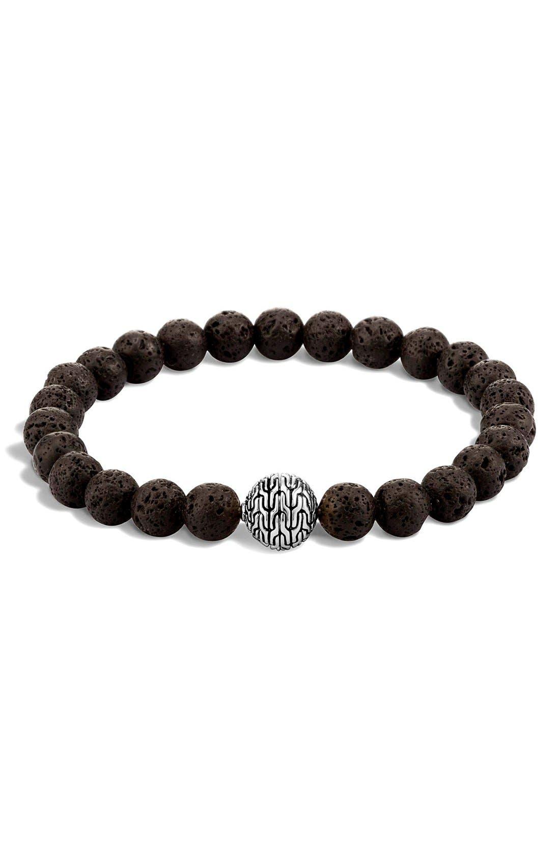 'Classic Chain' Beaded Bracelet,                             Main thumbnail 1, color,                             Black Volcanic/ Silver