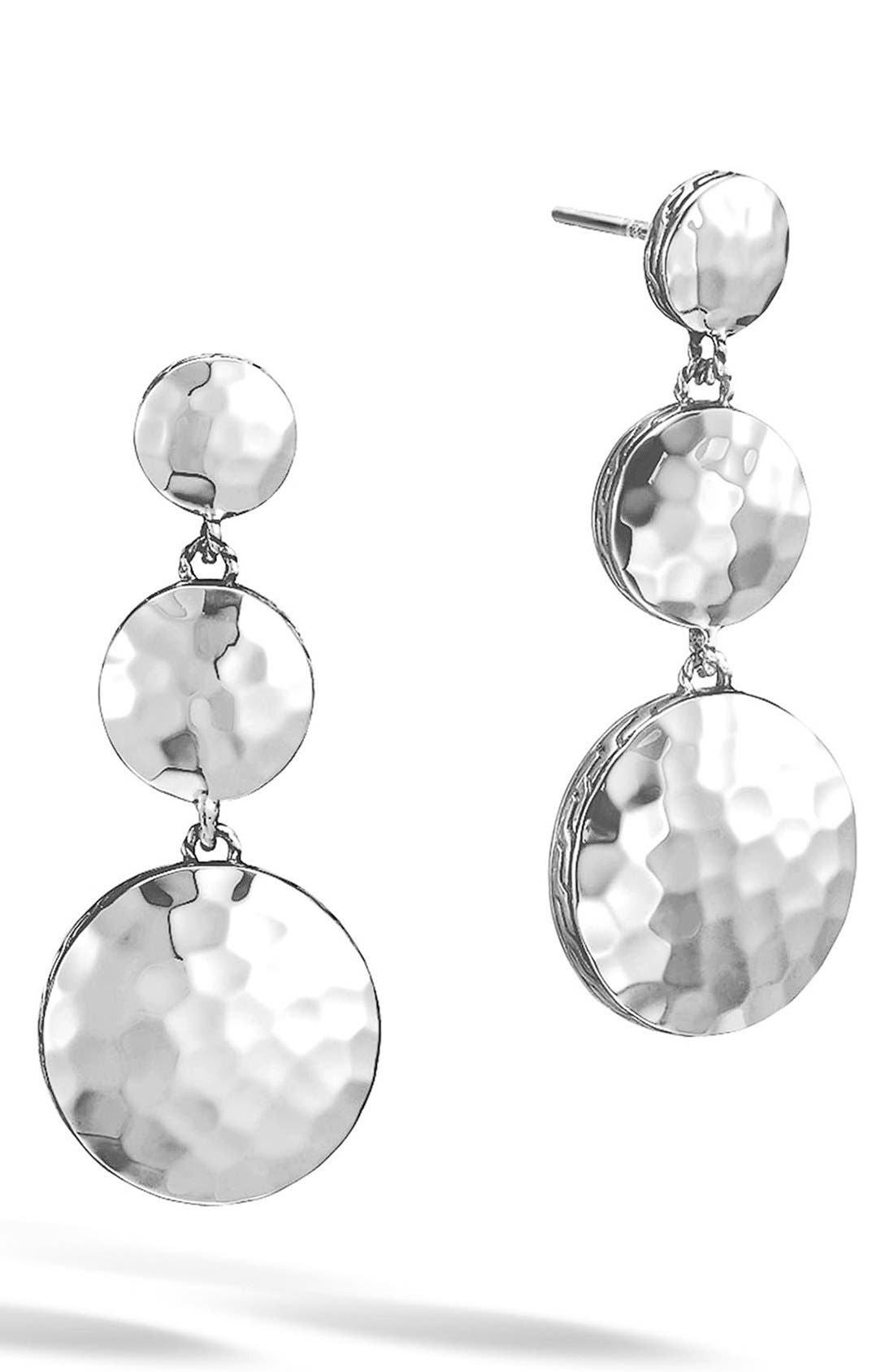 'Dot' Drop Earrings,                         Main,                         color, Silver