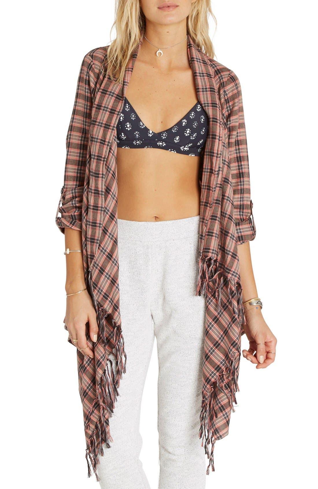 Main Image - Billabong 'Liv It Up' Open Flannel Cardigan