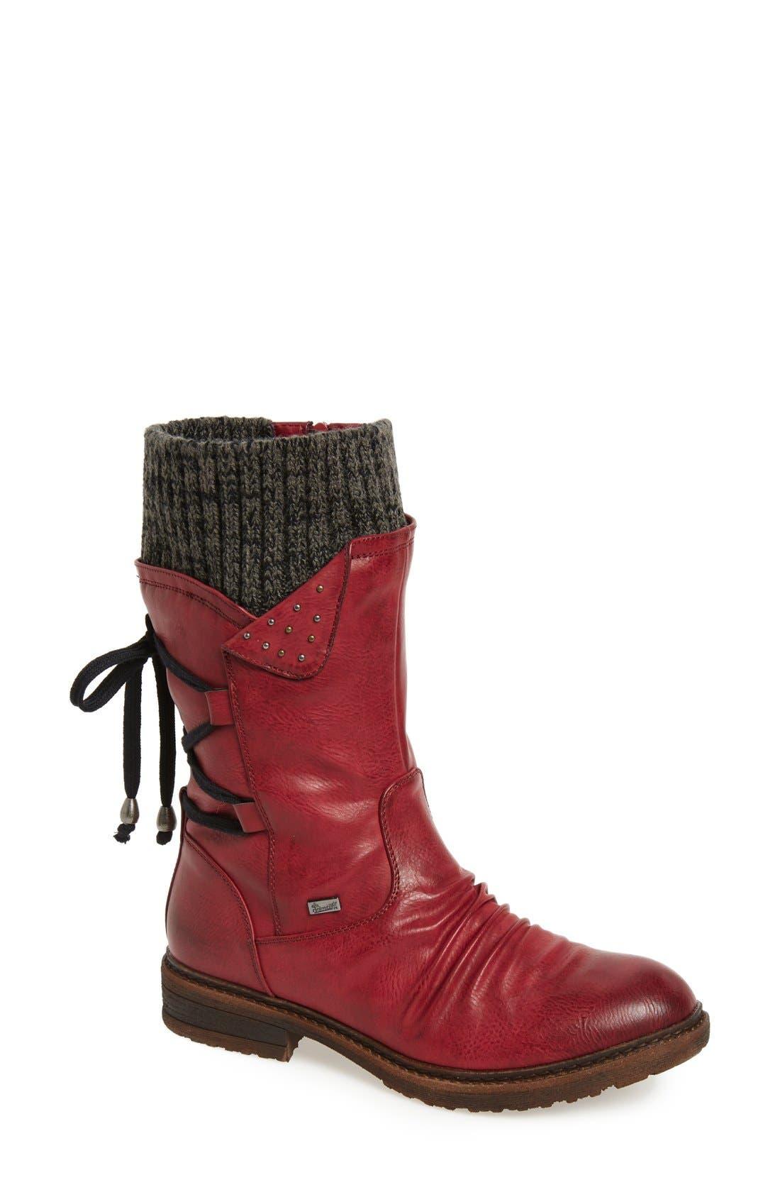 Dominika 73 Water Resistant Boot,                             Main thumbnail 1, color,                             Burgundy/ Black