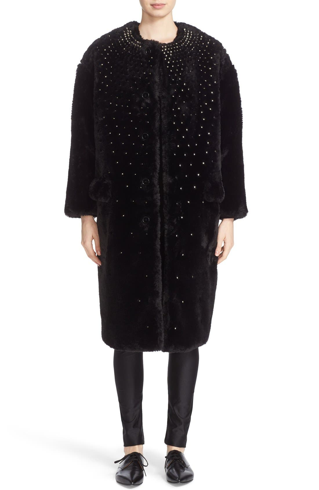 Alternate Image 1 Selected - noir kei ninomiya Studded Faux Fur Coat