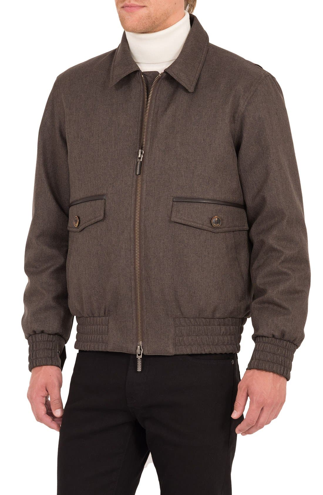 Wainwright Waterproof Twill Bomber Jacket,                             Alternate thumbnail 4, color,                             Acorn