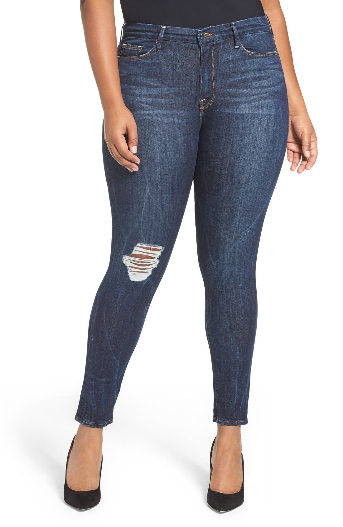Alternate Image 6  - Good American Good Legs Ripped Skinny Jeans (Blue 002)
