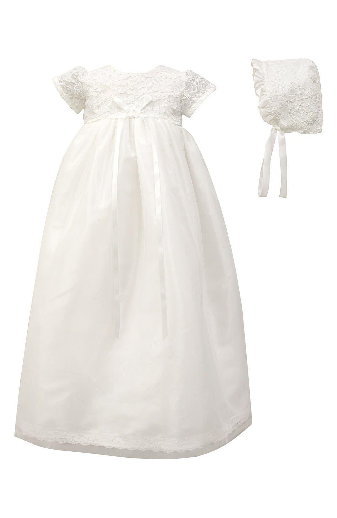 C.I. Castro & Co. Scalloped Lace Christening Gown & Bonnet Set (Baby)