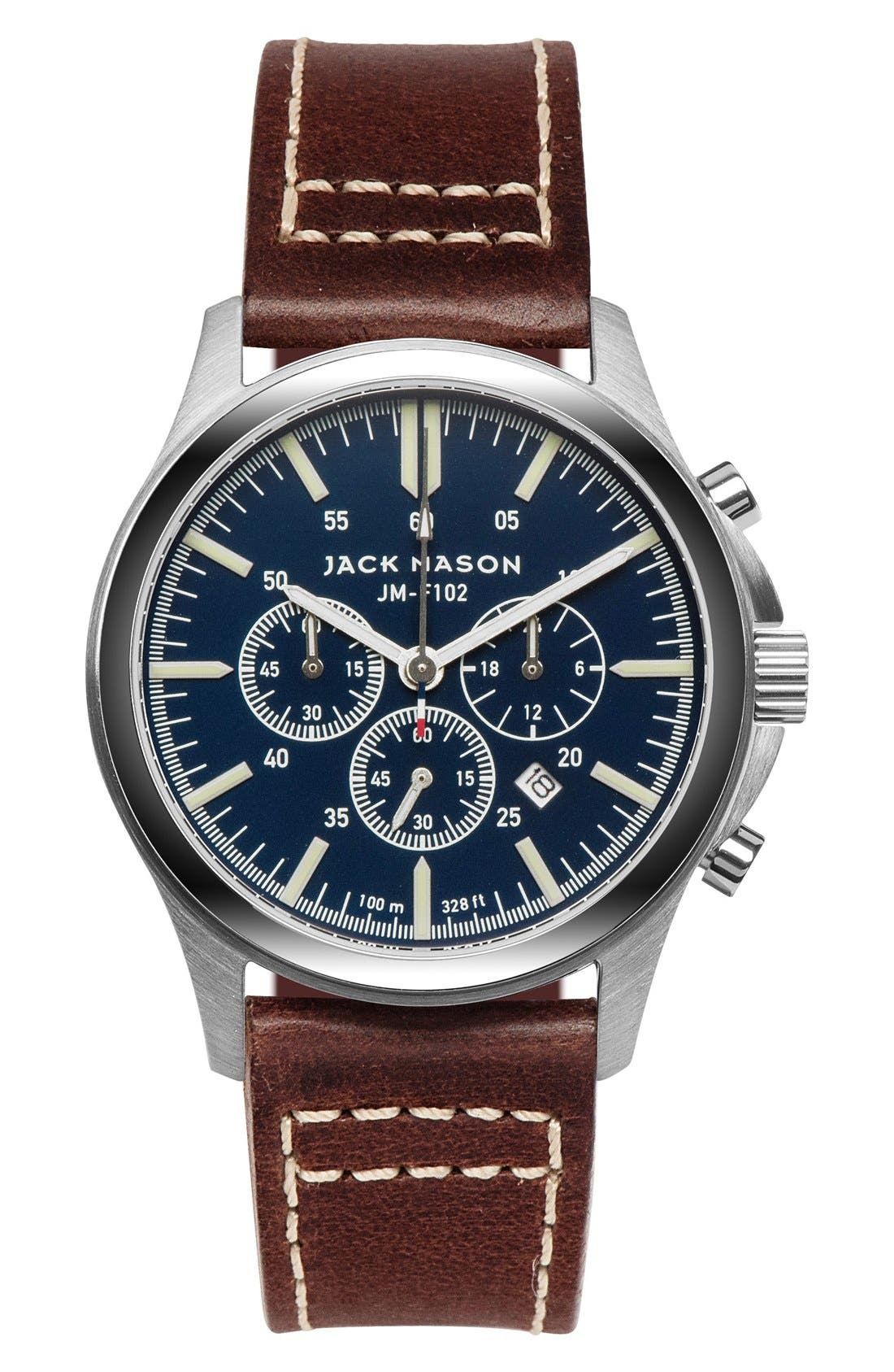 Field Chronograph Leather Strap Watch, 42mm,                         Main,                         color, Navy/ Brown