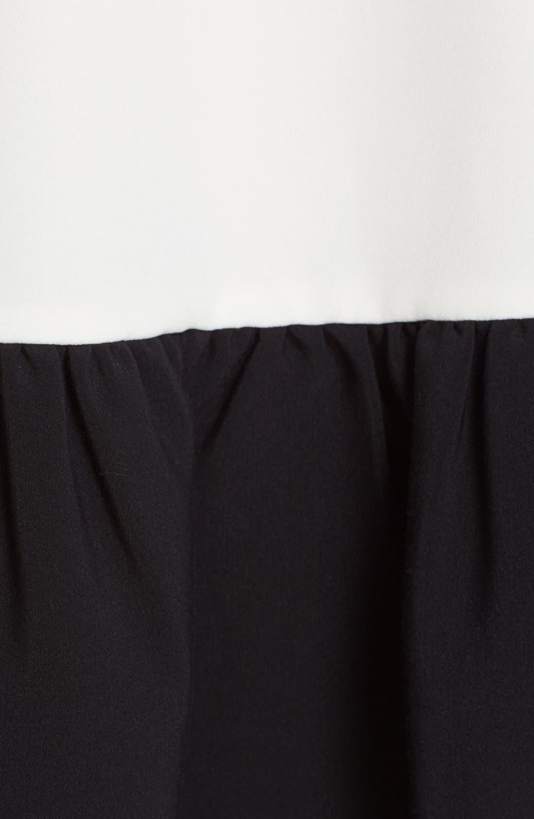 Fuji Colorblock Ruffle Hem Trapeze Dress,                             Alternate thumbnail 3, color,                             Black/ White