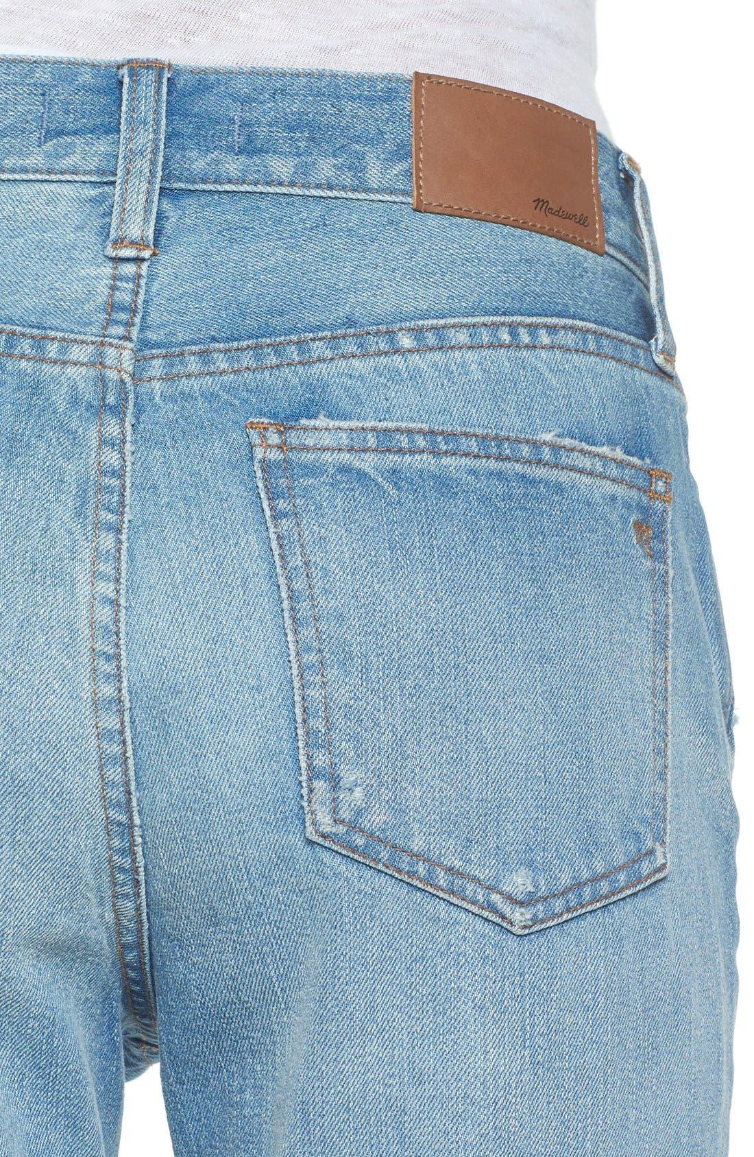 Perfect Vintage Ripped High Waist Boyfriend Jeans,                             Alternate thumbnail 4, color,                             Chet Wash