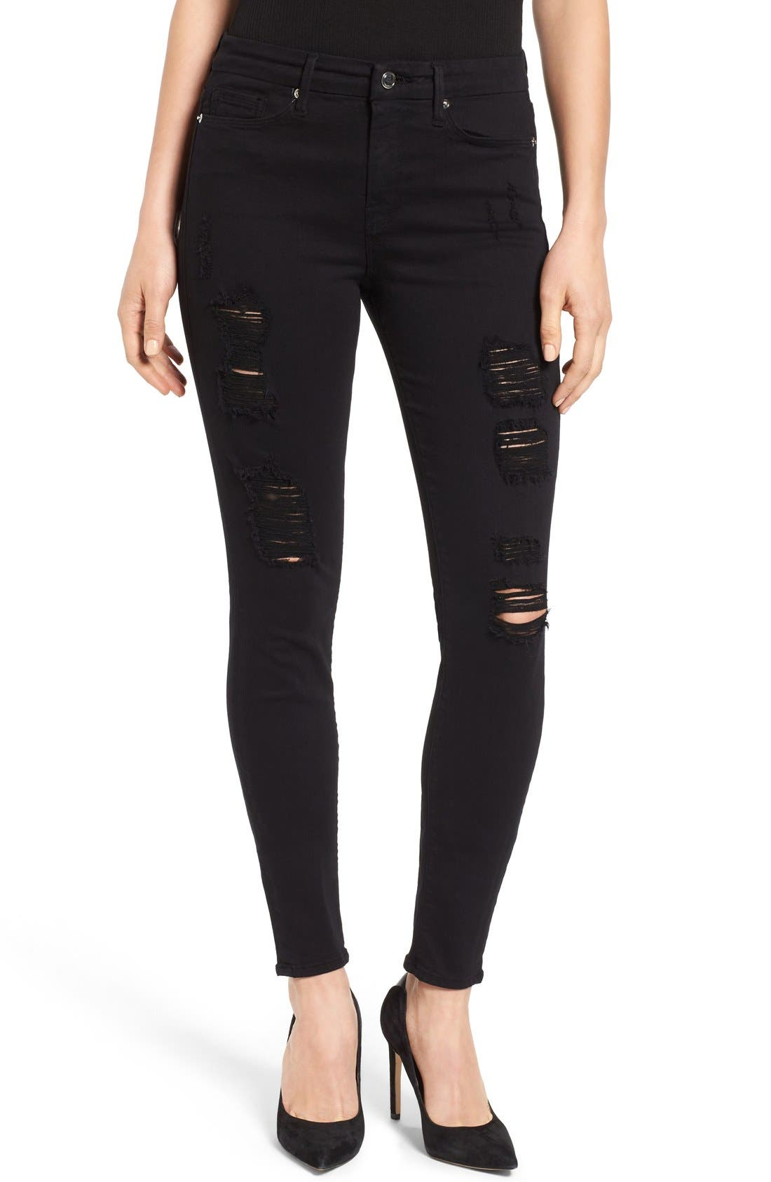 Alternate Image 1 Selected - Good American Good Legs High Rise Ripped Skinny Jeans (Black 002)
