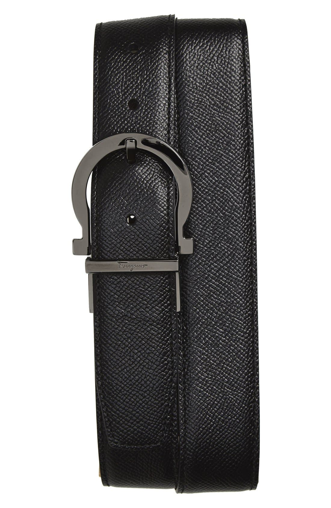 Reversible Leather Belt,                             Main thumbnail 1, color,                             Black/ Hickory