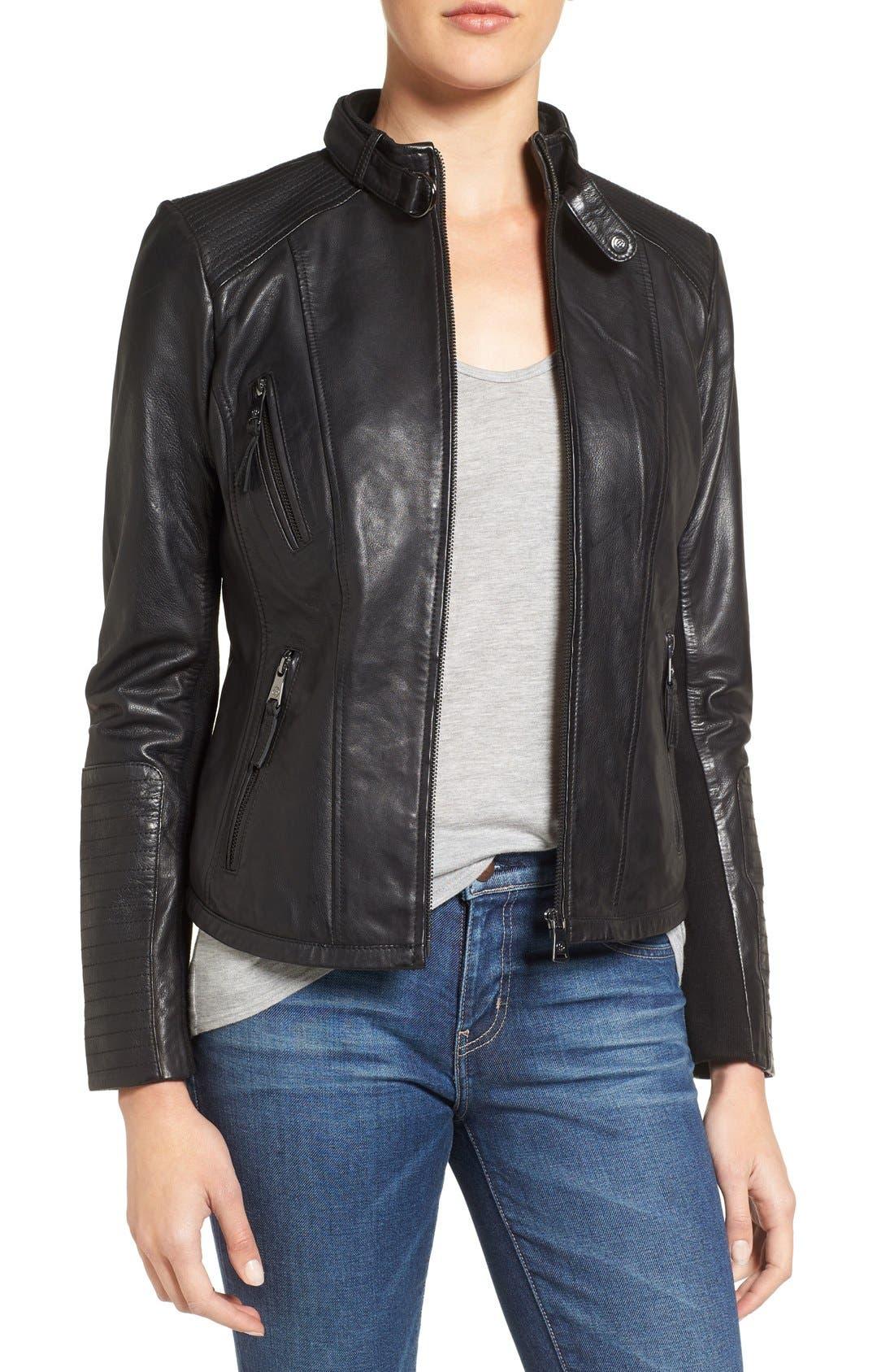Zip Front Leather Biker Jacket,                             Main thumbnail 1, color,                             Black