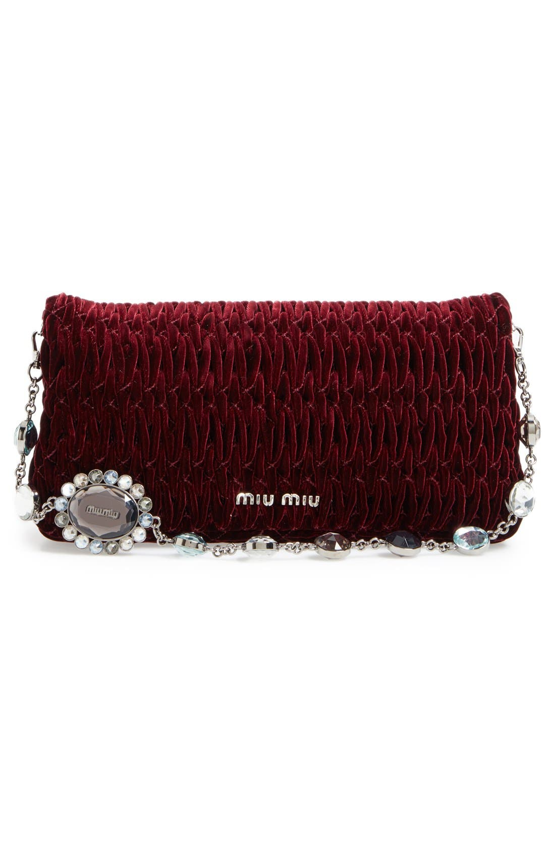 Medium Crystal Embellished Quilted Velvet Shoulder Bag,                             Alternate thumbnail 3, color,                             Bordeaux