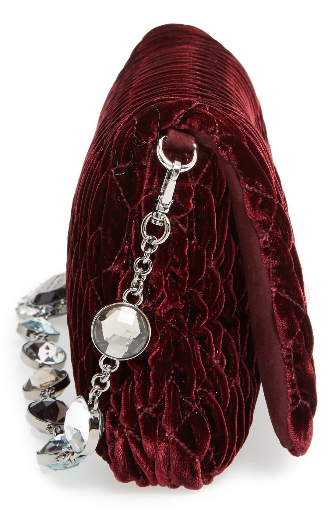Medium Crystal Embellished Quilted Velvet Shoulder Bag,                             Alternate thumbnail 5, color,                             Bordeaux