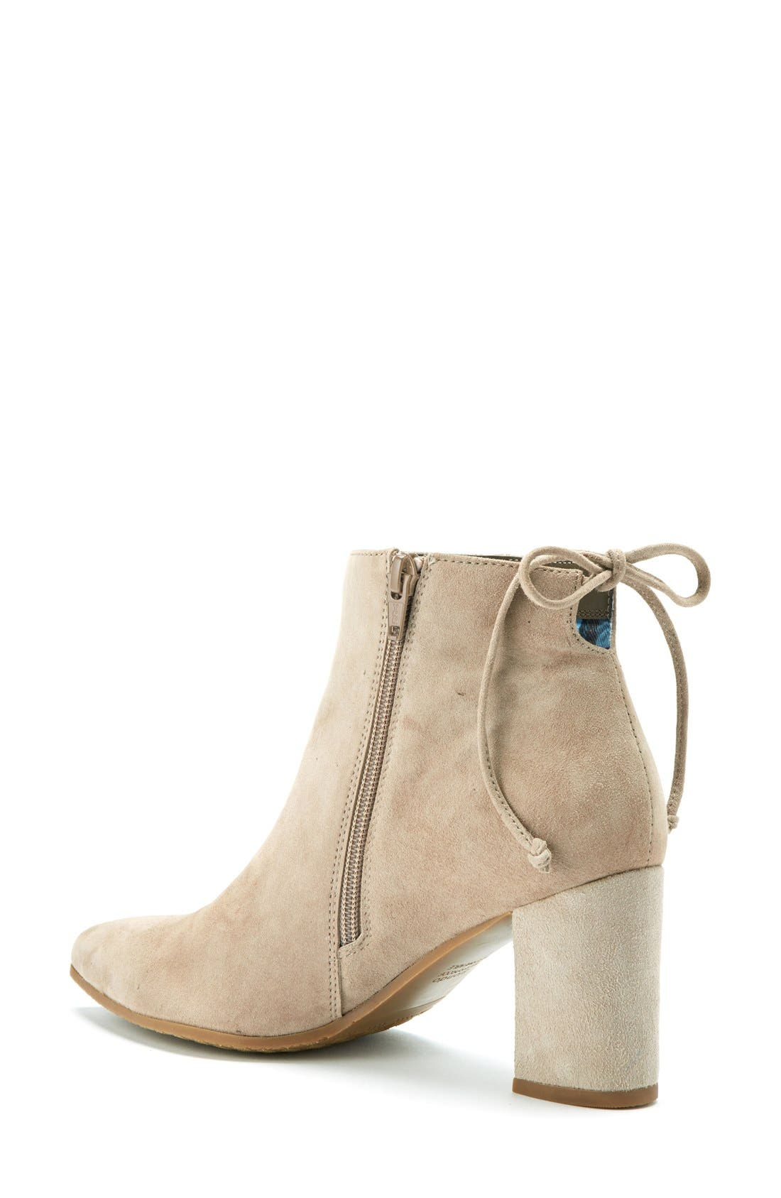 Tiana Waterproof Pointy Toe Bootie,                             Alternate thumbnail 2, color,                             Taupe Suede