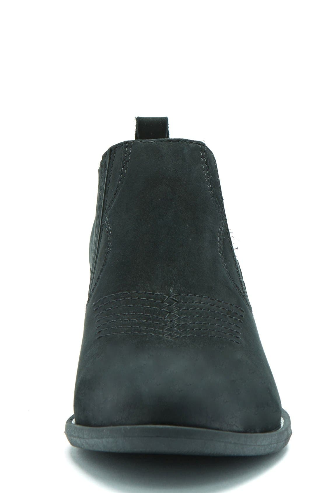 Maddox Waterproof Western Bootie,                             Alternate thumbnail 3, color,                             Black Leather