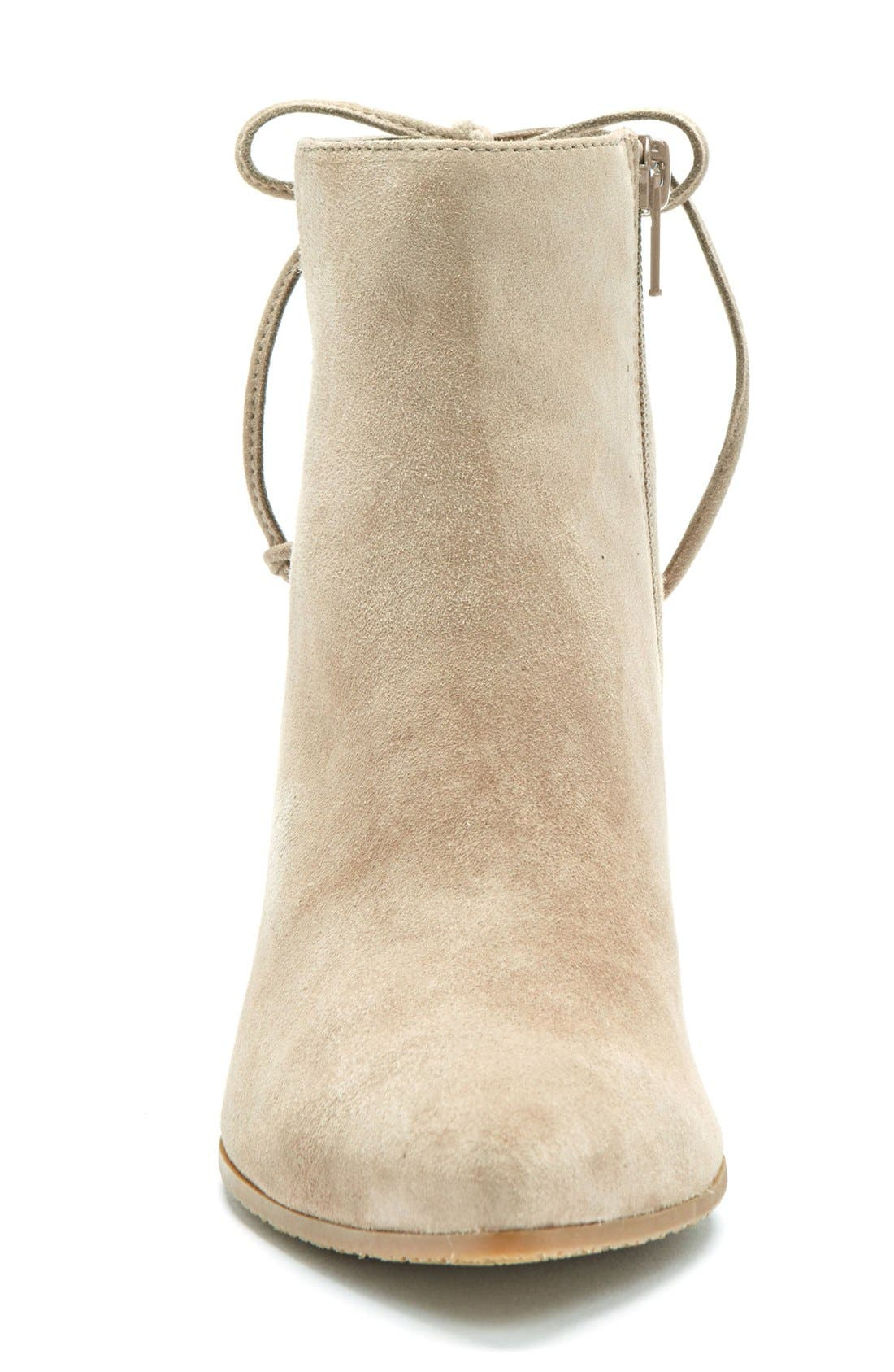 Tiana Waterproof Pointy Toe Bootie,                             Alternate thumbnail 3, color,                             Taupe Suede
