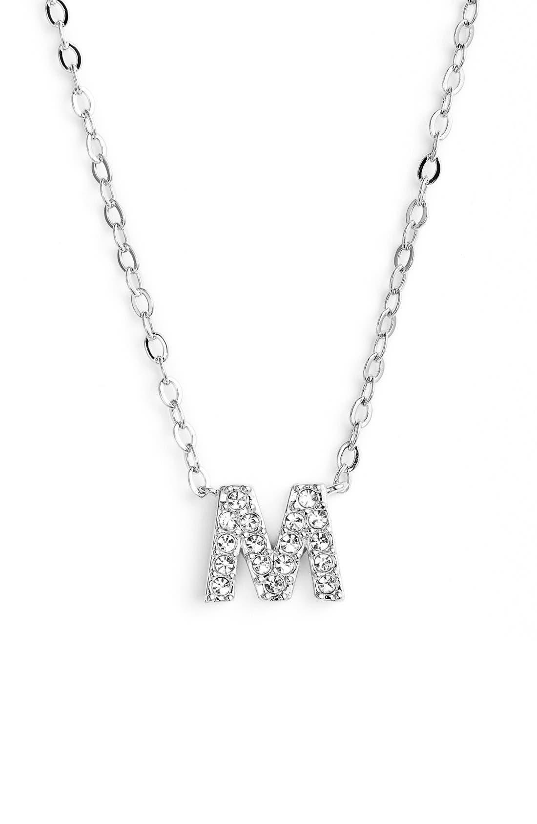 Initial Pendant Necklace,                         Main,                         color, M Silver