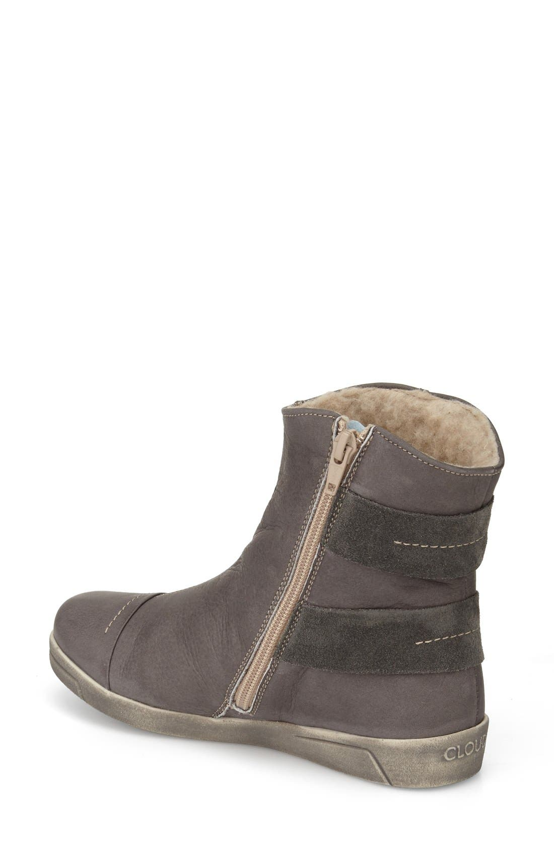 'Aline' Faux Shearling Lined Bootie,                             Alternate thumbnail 2, color,                             Dark Grey Leather