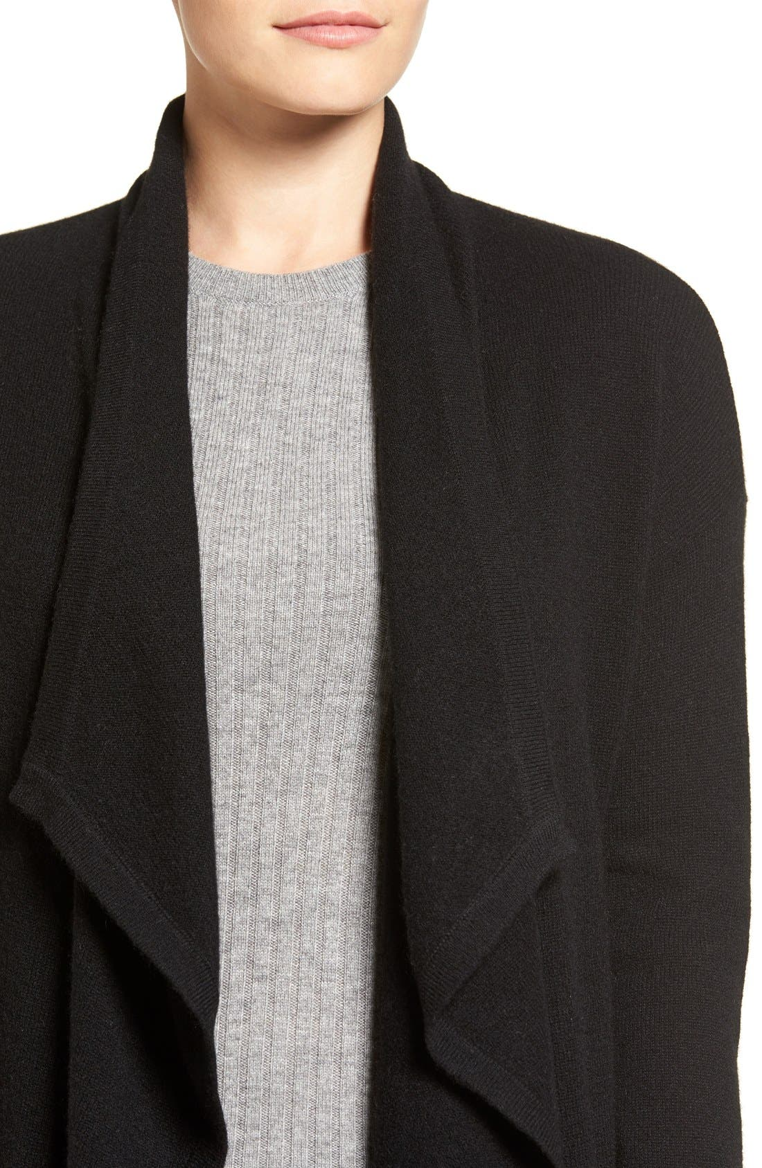 Alternate Image 4  - Halogen® Cashmere Long Drape Front Cardigan (Regular & Petite)