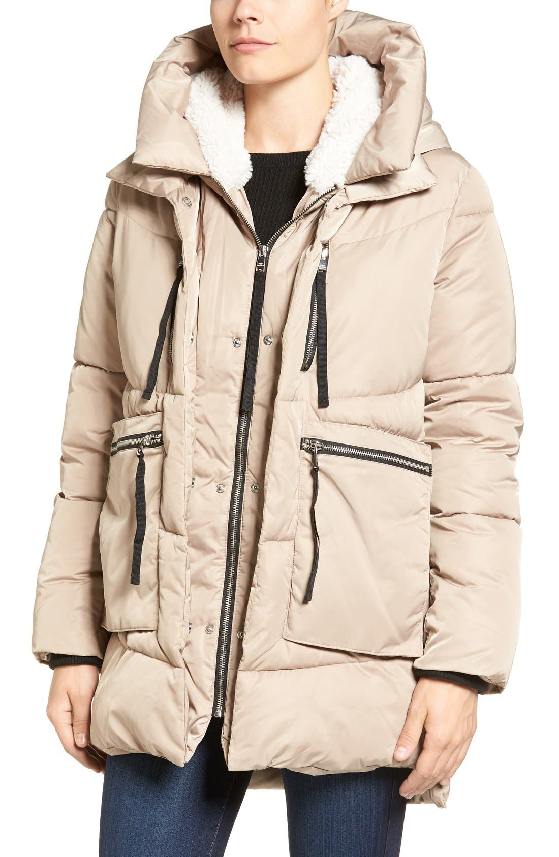 Hooded Puffer Jacket with Faux Shearling Trim,                             Alternate thumbnail 4, color,                             Sand