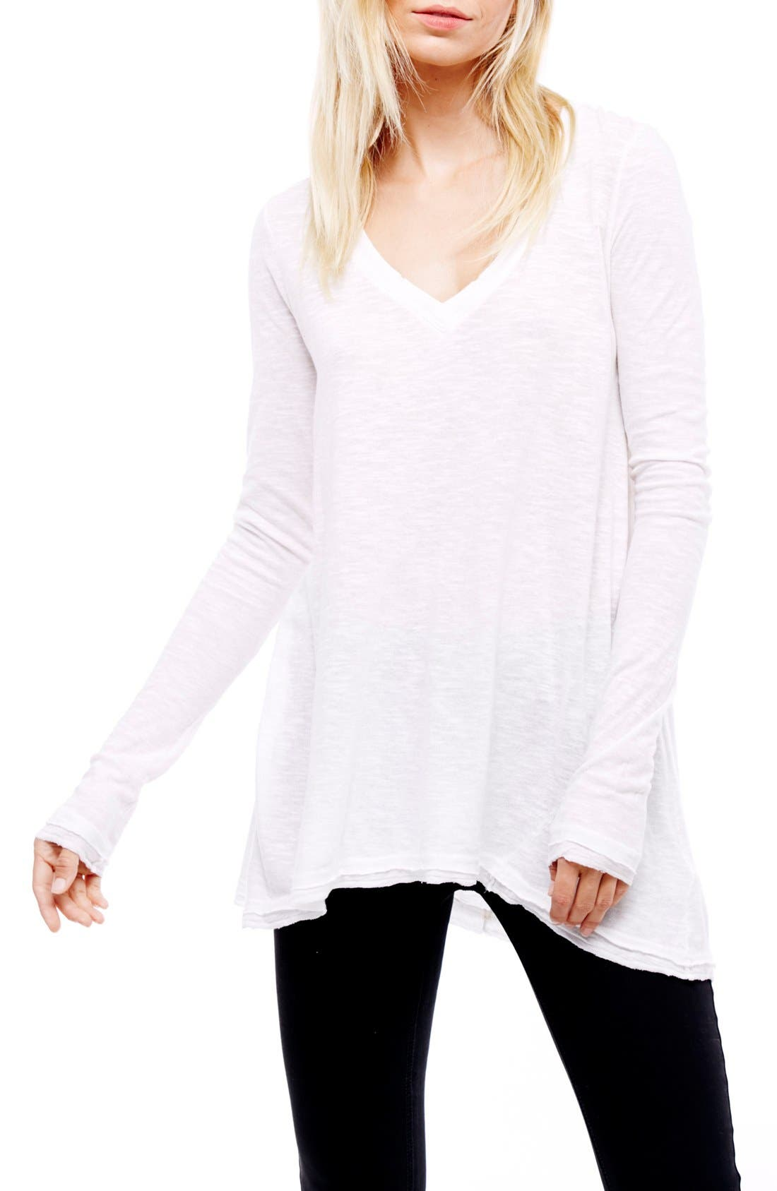 Free People 'Anna' Burnout High/Low Tee