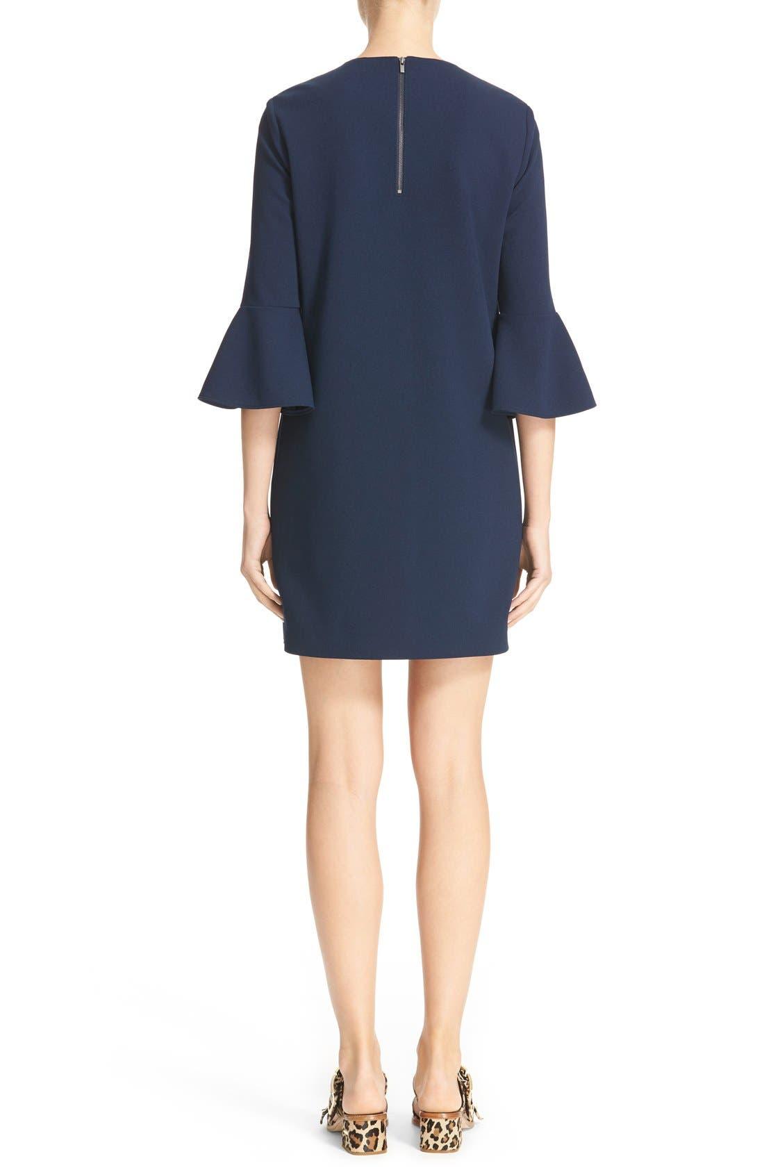 Bell Sleeve Dress,                             Alternate thumbnail 2, color,                             Navy