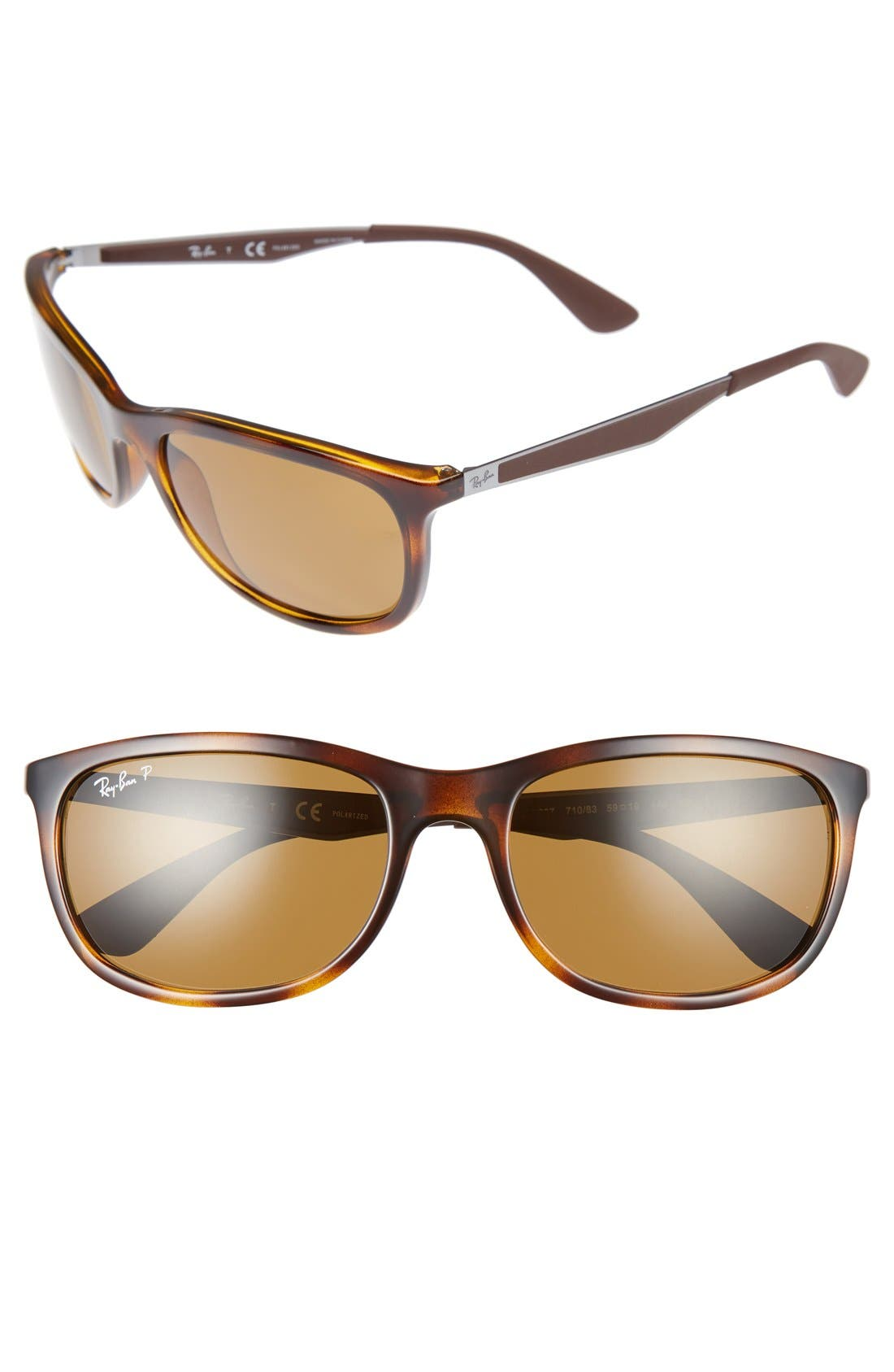 59mm Polarized Sunglasses,                         Main,                         color, Light Havana