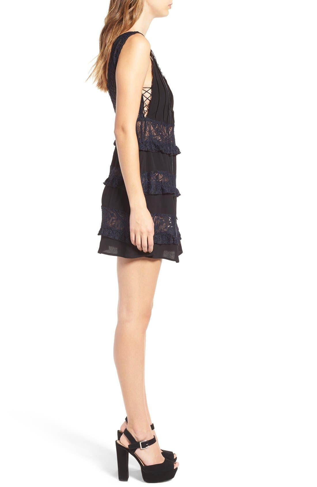 Alternate Image 3  - For Love & Lemons Lola Rose Lace-Up Minidress