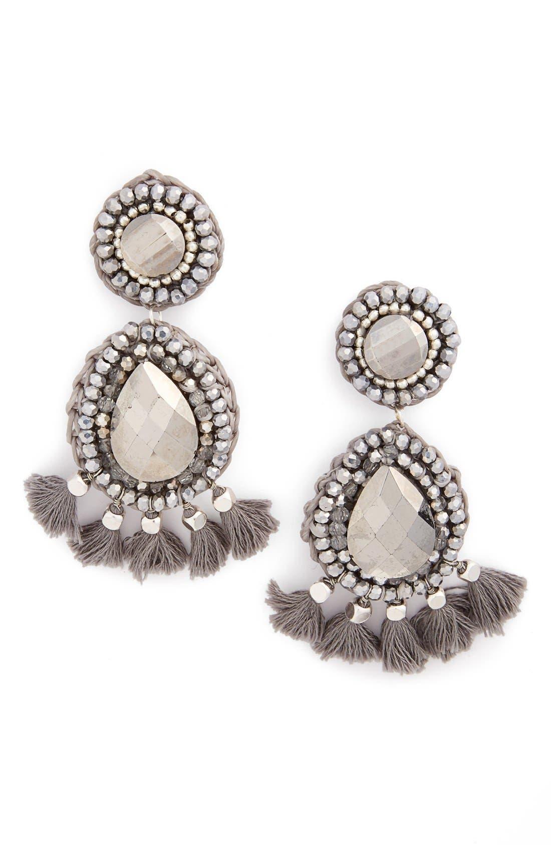 Rope Tassel Statement Earrings,                         Main,                         color, Silver