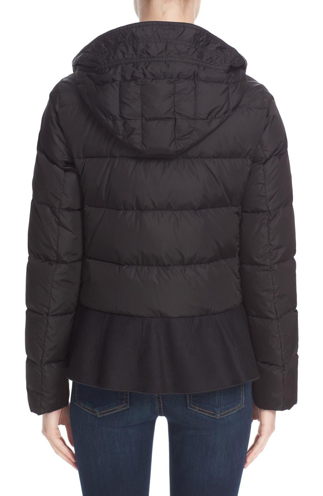 Nesea Peplum Hem Down Puffer Jacket,                             Alternate thumbnail 2, color,                             Black