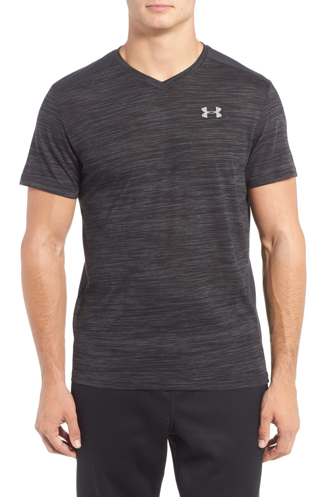 'Streaker Run' Microthread V-Neck T-Shirt,                             Main thumbnail 1, color,                             Anthracite/ Reflective Silver