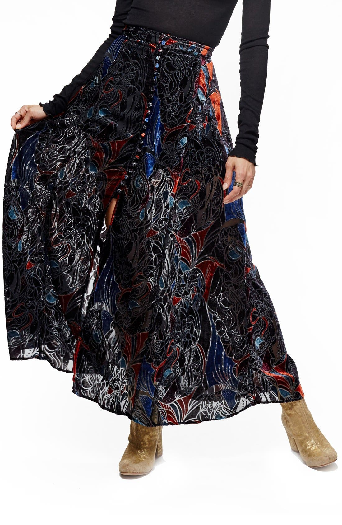 Main Image - Free People Velvet Burnout Maxi Skirt