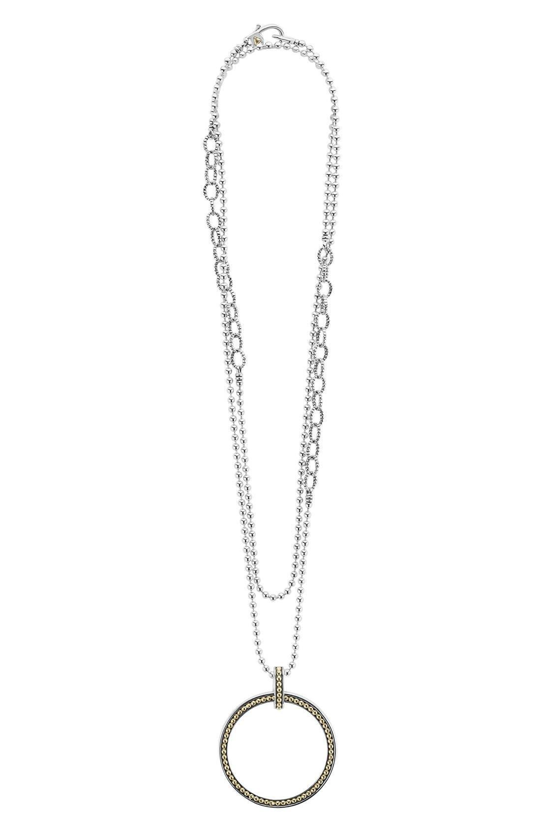 Enso Long Pendant Necklace,                             Alternate thumbnail 2, color,                             Silver/ Gold